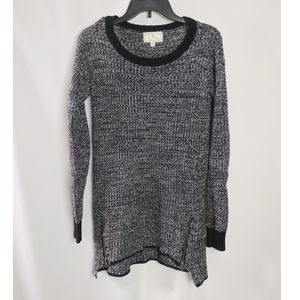 Anthro Ruby Moon Black White Knit Zipper Sweater
